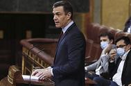 El presidente del Gobierno, Pedro Sáchez, en el pleno del Congreso que aprobó la quinta prórroga del estado de alarma.