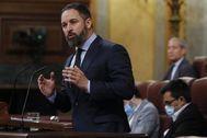 El presidente de Vox, Santiago Abascal, este miércoles, en el pleno del Congreso.
