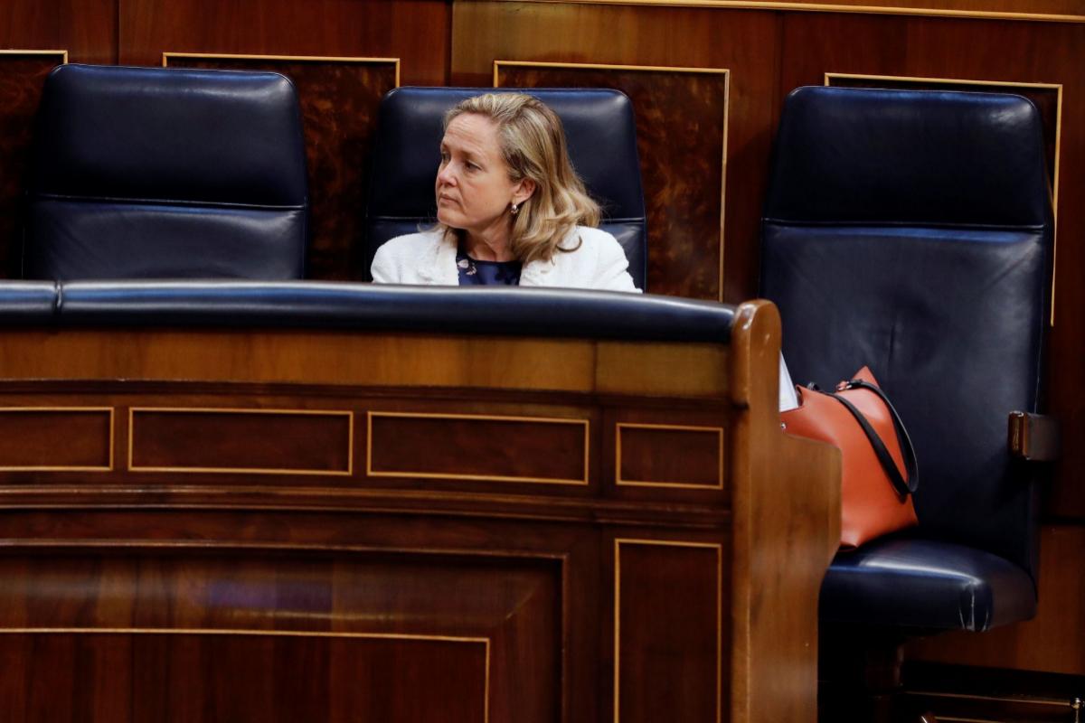 La vicepresidenta y ministra de Economía, Nadia Calviño, este miércoles, en el Congreso.