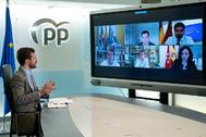 El presidente del PP, Pablo Casado, con presidentes autonómicos.