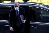 Quim Torra a su llegada al Parlament.