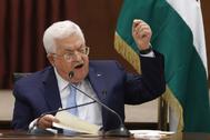 El presidente de la Autoridad Nacional Palestina, Abu Mazen, durante una reunión con los jefes de los organismos de seguridad, en Ramala.