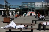 Zona de descanso de los medicos en el Hospital de IFEMA