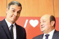 Pedro Sánchez y Andoni Ortuzar tras la reunión mantenida en la sede del PSOE en septiembre de 2019.