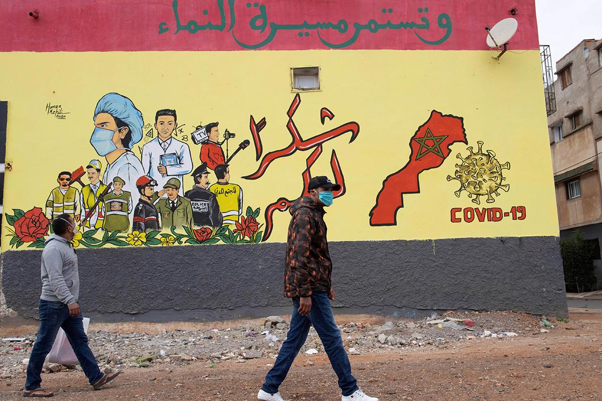 Un mural de agradecimiento a los trabajadores esenciales, en Salé.