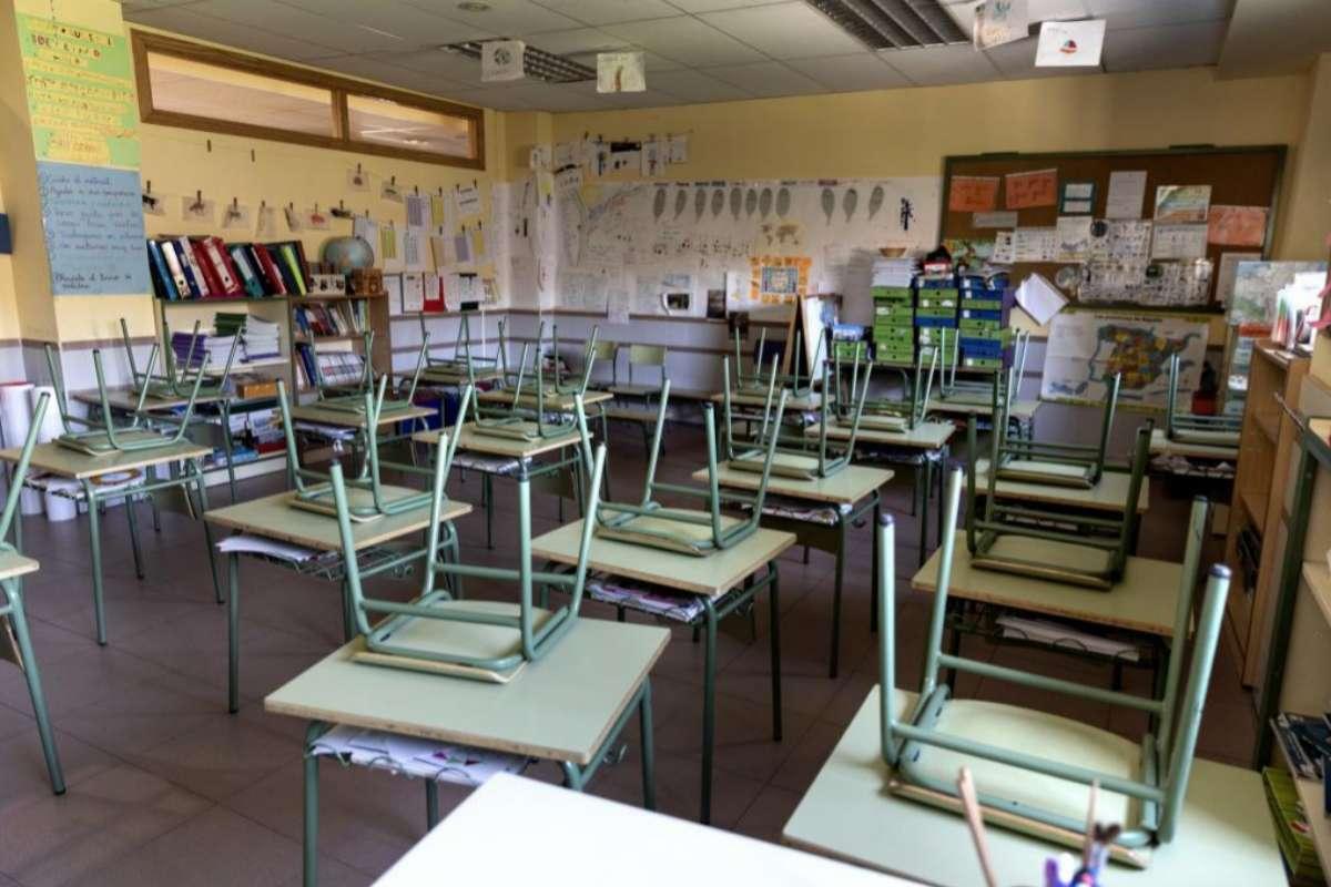 Aulas vacías por el coronavirus en el Colegio Público Fernández Moratín de Madrid.