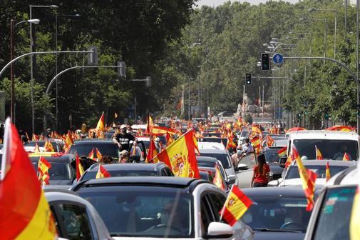 La protestation dans le Paseo de Recoletos.