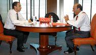 El entonces presidente del Gobierno, José Luis Rodríguez Zapatero y el fallecido presidente del Banco Santander, Emilio Botín, en septiembre de 2007 en la sede de la entidad financiera