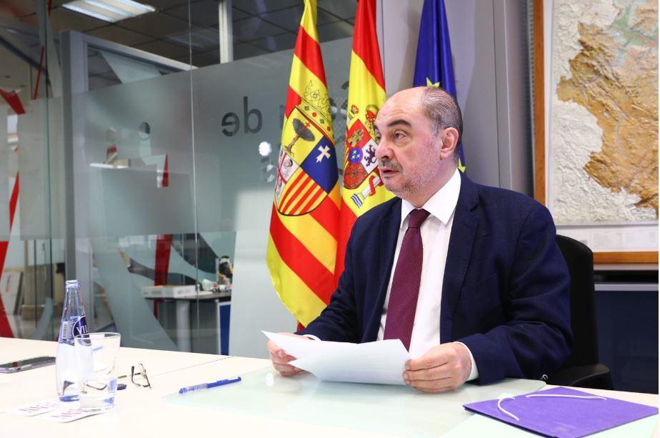 El presidente de Aragón, Javier Lambán, este domingo, en la conferencia de presidentes.