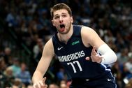 Mar 8, 2020; Dallas, Texas, USA; Dallas Mavericks guard Luka lt;HIT gt;Doncic lt;/HIT gt; (77) reacts during the first quarter against the Indiana Pacers at American Airlines Center. Mandatory Credit: Kevin Jairaj-USA TODAY Sports - 14159878