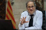 GRAF411. BARCELONA 24/5/2020.- El presidente de la Generalitat de Cataluña, Quim lt;HIT gt;Torra lt;/HIT gt;, se reunió hoy por videoconferencia con el presidente del gobierno español, Pedro Sánchez y con los presidentes autonómicos, para hacer un seguimiento de la situación de la pandemia del coronavirus.   GENERALITAT DE CATALUÑA SOLO USO EDITORIAL/ NO VENTAS/NO ARCHIVO