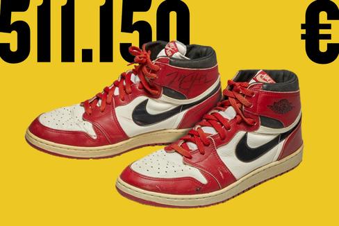 Las zapatillas Air Jordan 1, valoradas en más de 500.000 dólares.