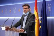 El presidente del grupo parlamentario Unidas Podemos, Jaume Asens, este lunes, en la sala de prensa del Congreso.