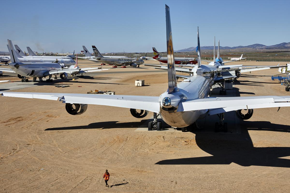 Aviones aparcados, en preservación, en Teruel.