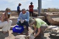 Patricia del Pozo y Marcelo Castro observan la cabeza de mármol descubierta.