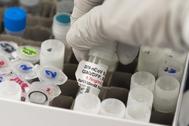 Un vial de la posible vacuna en un laboratorio de Novavax  en Rockville.