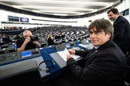 Carles Puigdemont y Toni Comín en el Parlamento Europeo.