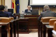 MADRID.-El gobernador del Banco de España, Pablo lt;HIT gt;Hernández lt;/HIT gt; de lt;HIT gt;Cos lt;/HIT gt;, durante su comparecencia en la en la Comisión de Economía del Congreso para explicar el impacto del COVID-19 en la economía española, en la que ha revisado las previsiones de caída del PIB de hace un mes y ha dicho que en el mejor de los escenarios la economía caería este año el 9,5 %, frente a la horquilla de entre el 6,6 % y el 8,7 % que estimó en abril. J.J. Guillen