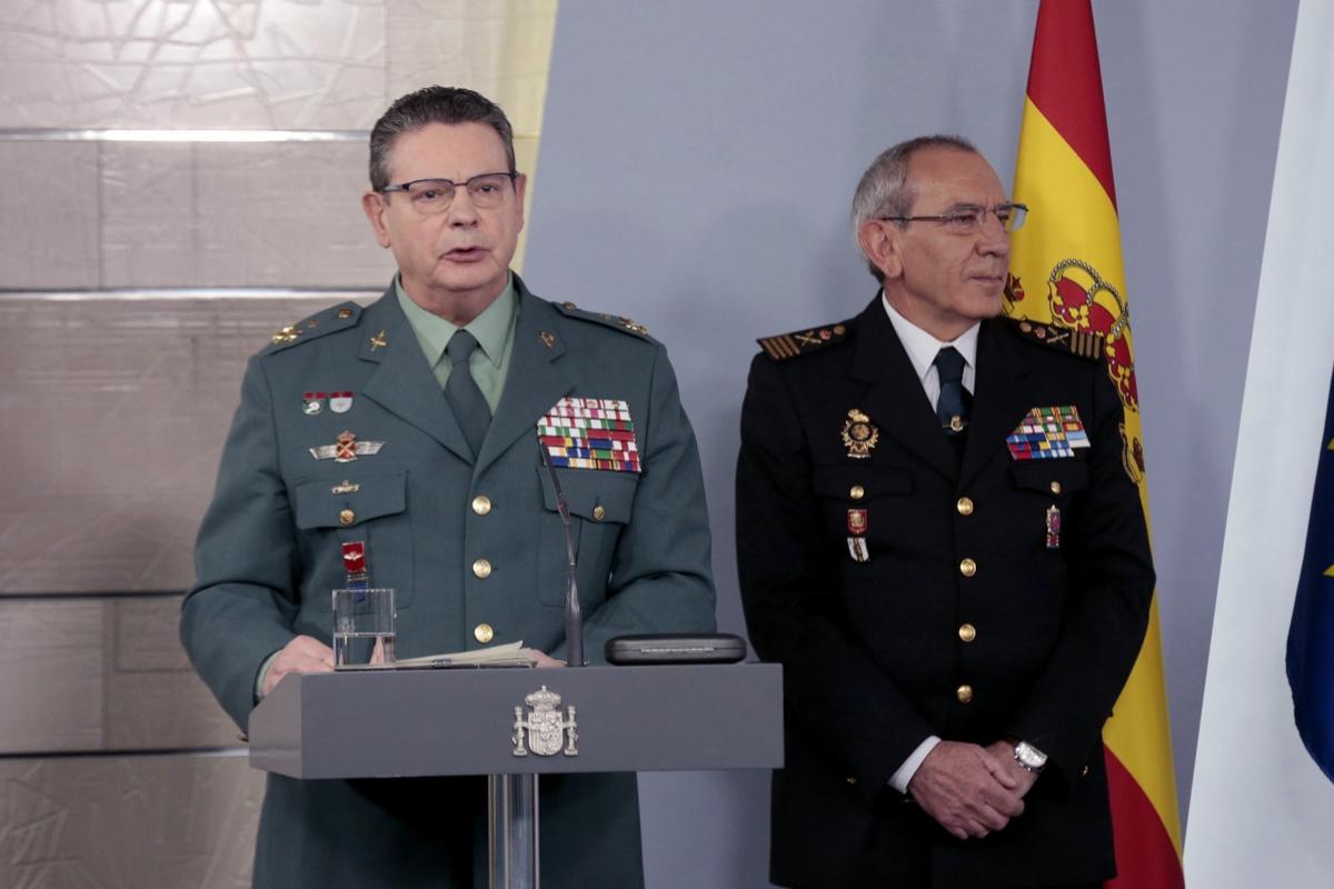 El director adjunto operativo de la Guardia Civil, Laurentino Ceña, en una rueda de prensa, en La Moncloa.