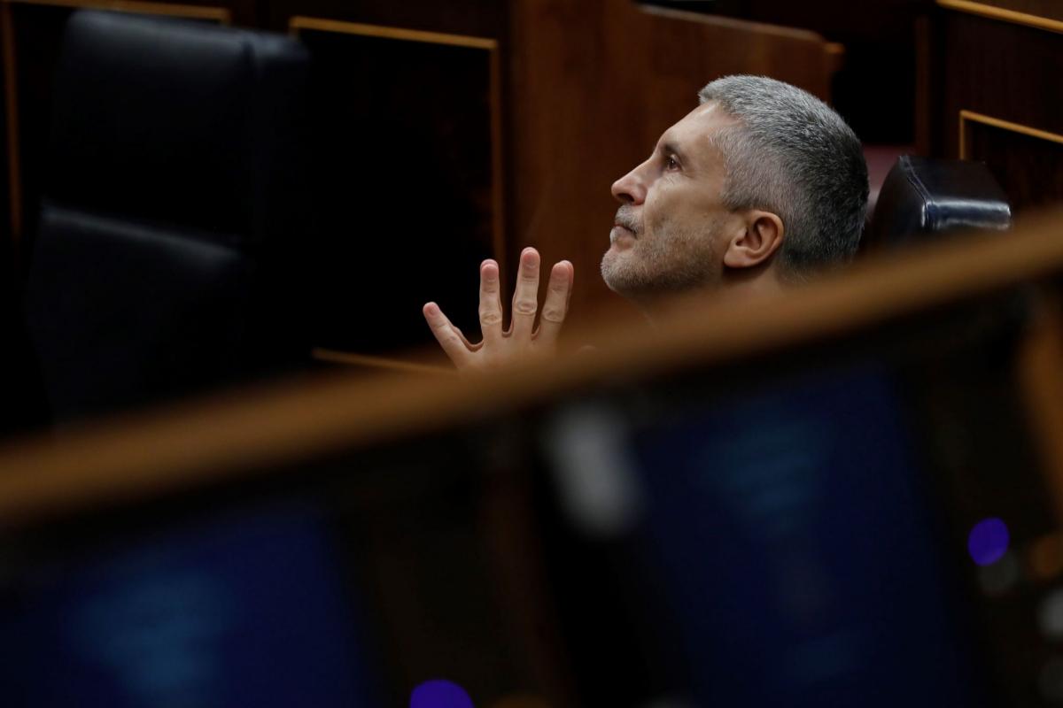El ministro del Interior, Fernando Grande-Marlaska, este miércoles, en el Congreso.