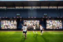 Recreación de las pantallas en el estadio del Aarhus, donde los seguidores interactuarán durante el partido mediante Zoom.