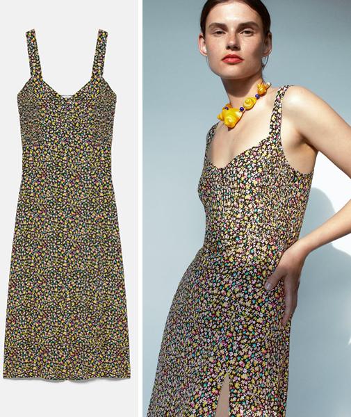 Vestido de tirantes con detalle de nido de abeja en el cuerpo. Es de Zara y cuesta 29,95 euros.