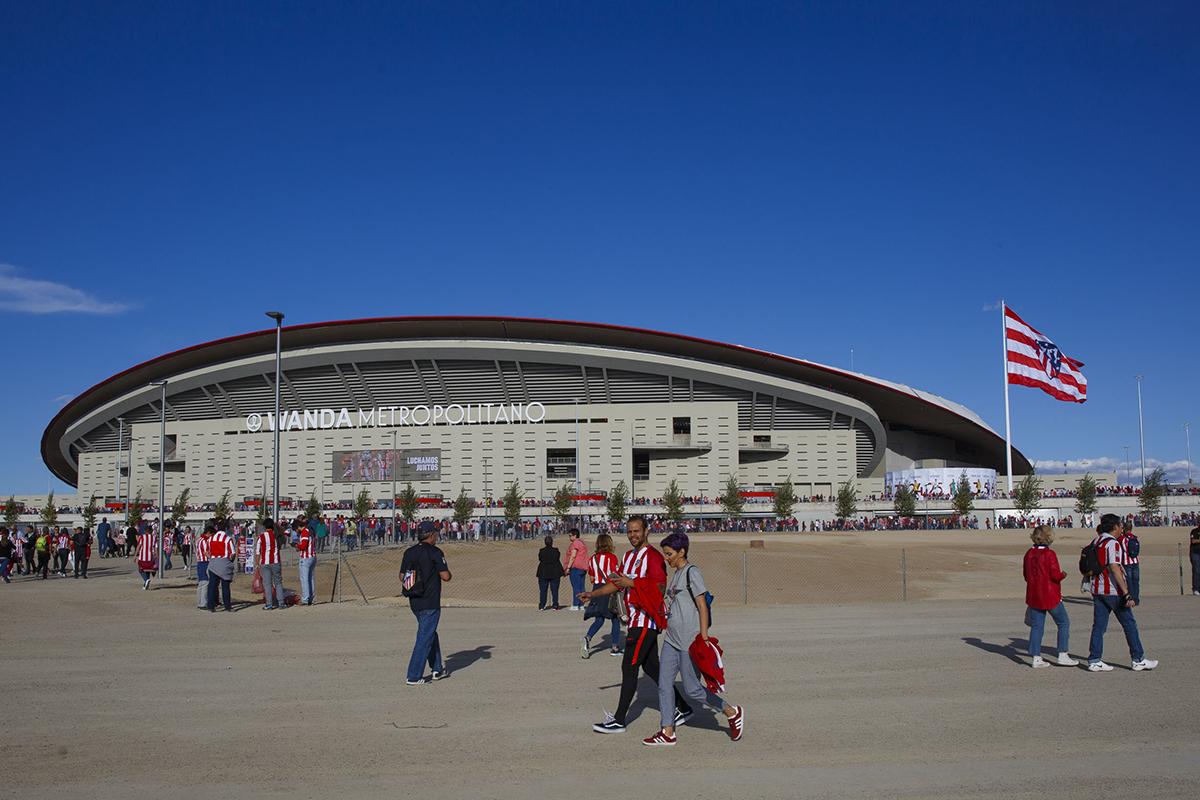 Inmediaciones del Wanda Metropolitano, en un día de partido