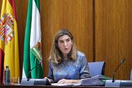 La consejera de Empleo, durante la comisión en el Parlamento andaluz.