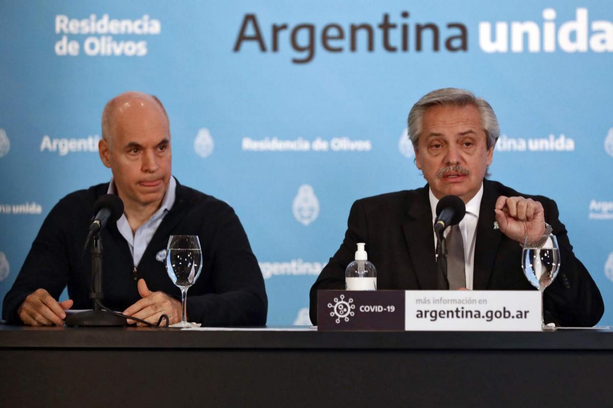 Horacio Rodríguez Larreta comparece junto a Alberto Fernández.