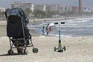 Aspecto que presentaba este jueves la playa de la Misericordia, en Málaga.