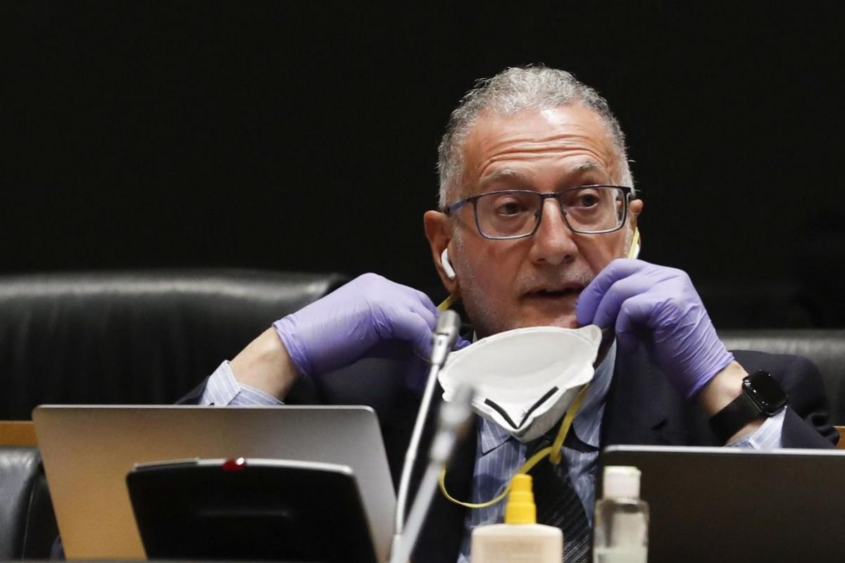 Juan Luis Steegmann, con mascarilla y guantes, en el Congreso.