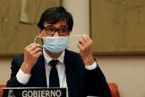 El ministro de Sanidad, Salvador Illa, antes de su décima comparecencia ante la Comisión de Sanidad del Congreso para dar cuenta de la evolución de la pandemia del coronavirus.