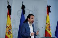 El vicepresidente segundo, Pablo Iglesias, este viernes en La Moncloa.
