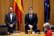 Pablo Iglesias y Patxi López, en la comisión