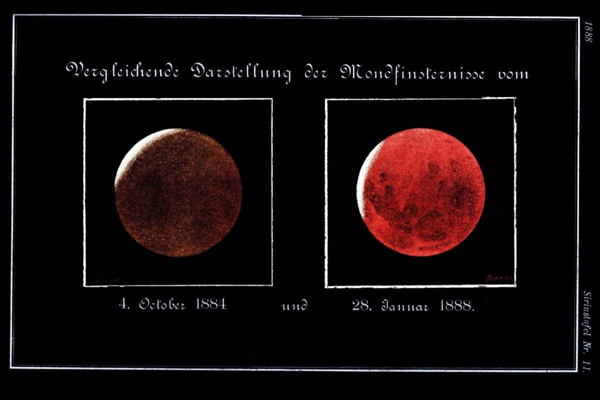 Dos eclipses lunares: un año después (izda) y cuatro años después de la erupción del Krakatoa.