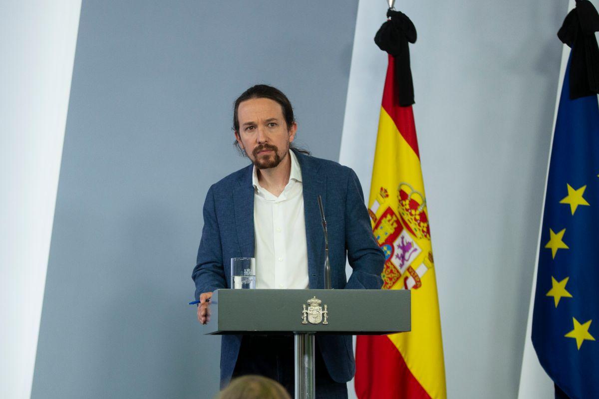 Pablo Iglesiasdurante la rueda de prensa tras el Consejo de Ministros.