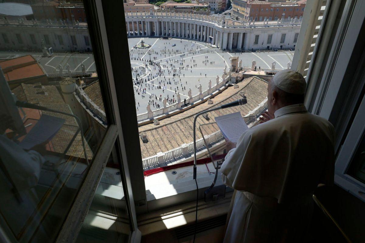 El Papa Francisco en la oración Regina Coeli, hoy.