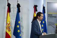 Pablo Iglesias, en la rueda de prensa posterior al Consejo de Ministros del viernes.