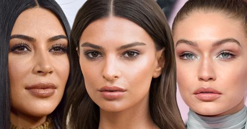 Tres cejas famosas: aladas para Kim Kardashian, más horizontales para Emily Ratajkowski y de arco redondeado en Gigi Hadid.
