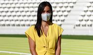 Begoña Villacís en la reapertura del Estadio Vallehermoso de Atletismo.