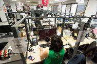 Las oficinas de Legálitas, con una presencia reducida de trabajadores.