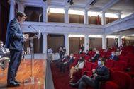 El vicepresidente de la Junta, Juan Marín, este lunes en los Desayunos de Europa Press en la Fundación Cajasol.