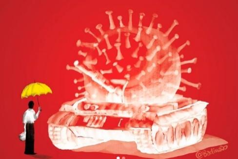 Última obra del artista Badiucao: el hombre del tanque de Tiananmen, el coronavirus y las protestas de Hong Kong.
