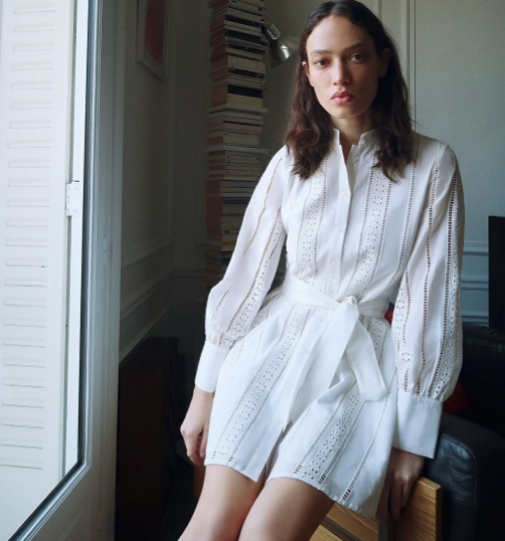 Vestido mini bordado con bordados perforados