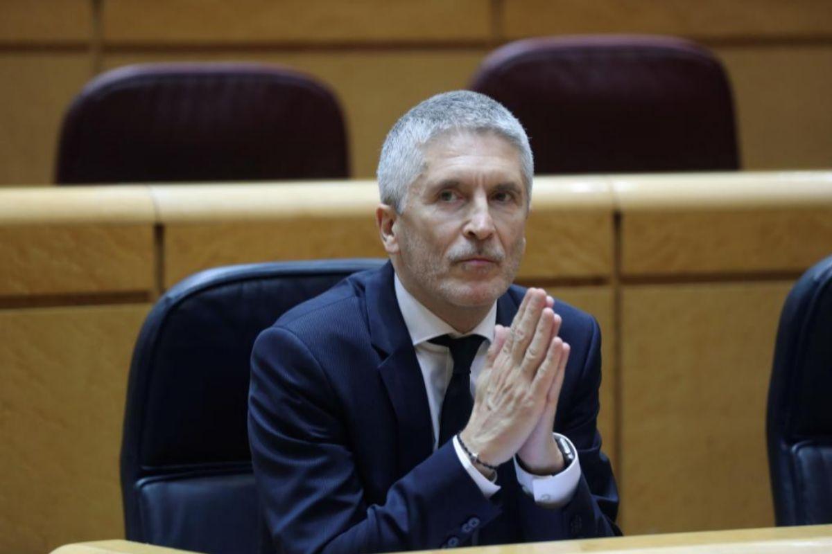 El ministro del Interior, Fernando Grande-Marlaska, durante la Sesión de Control en el Senado de este martes