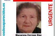 Cartel de la mujer desaparecida en Moratalaz.