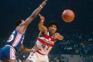 WASHINGTON - 1977: Washington Bullets' Wes lt;HIT gt;Unseld lt;/HIT gt; #41 passes during a game at Capital Centre circa 1977 in Washington, D.C.. NOTE TO USER: User expressly acknowledges and agrees that, by downloading and/or using this Photograph, User is consenting to the terms and conditions of the Getty Images License Agreement. (Photo by Focus on Sport via Getty Images)