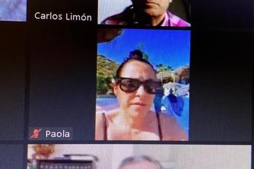 La concejal de Hacienda en el Ayuntamiento de Torrox, en bikini en una reunión por videollamada.