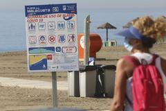 Una bañista observa un panel con normas para el uso de la playa en prevención de contagio por coronavirus en La Malagueta, en Málaga.