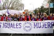 Cabecera de la manifestación del 8-M, en Madrid.